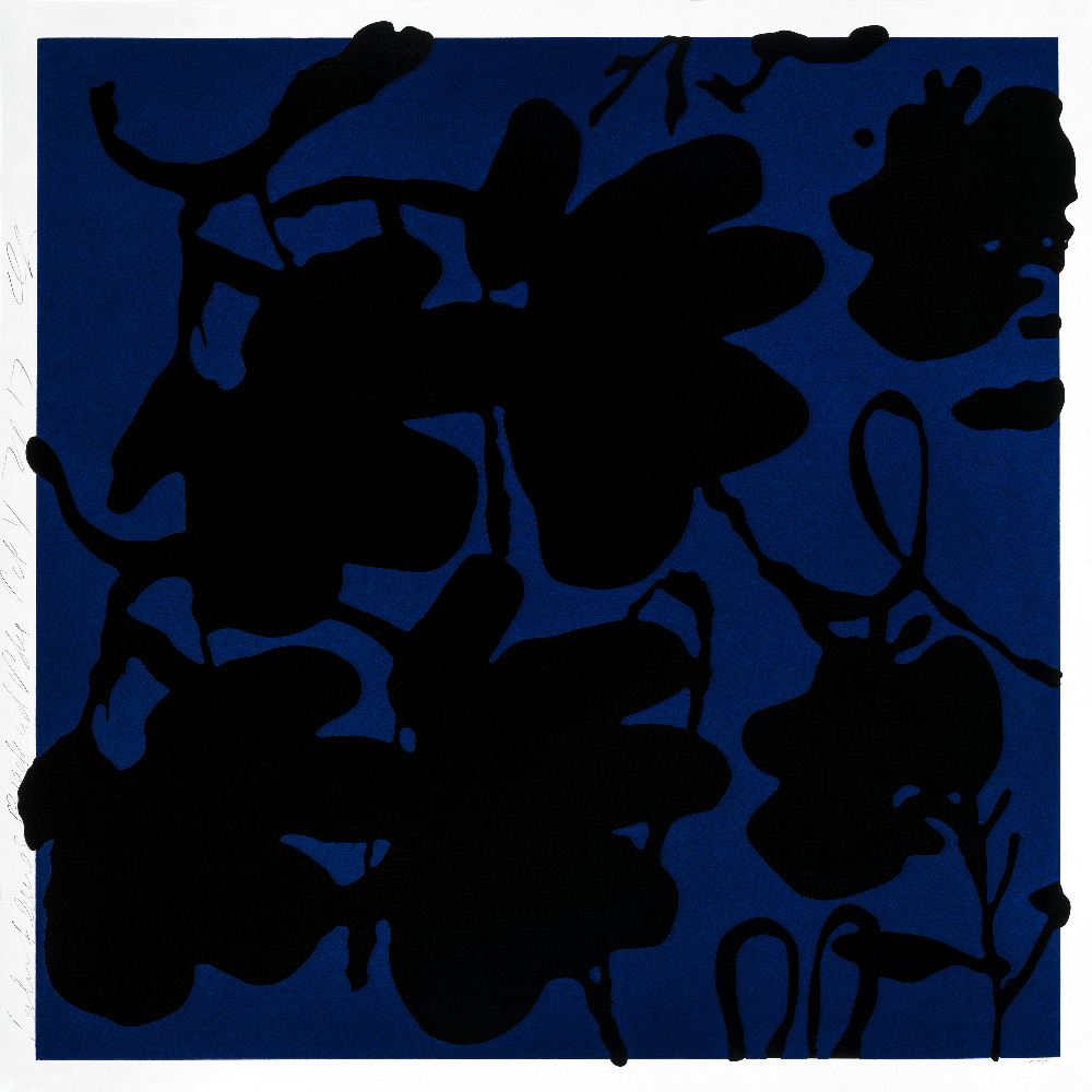 Donald Sultan, Black and Blue Lantern Flower, Oct 4, 2017