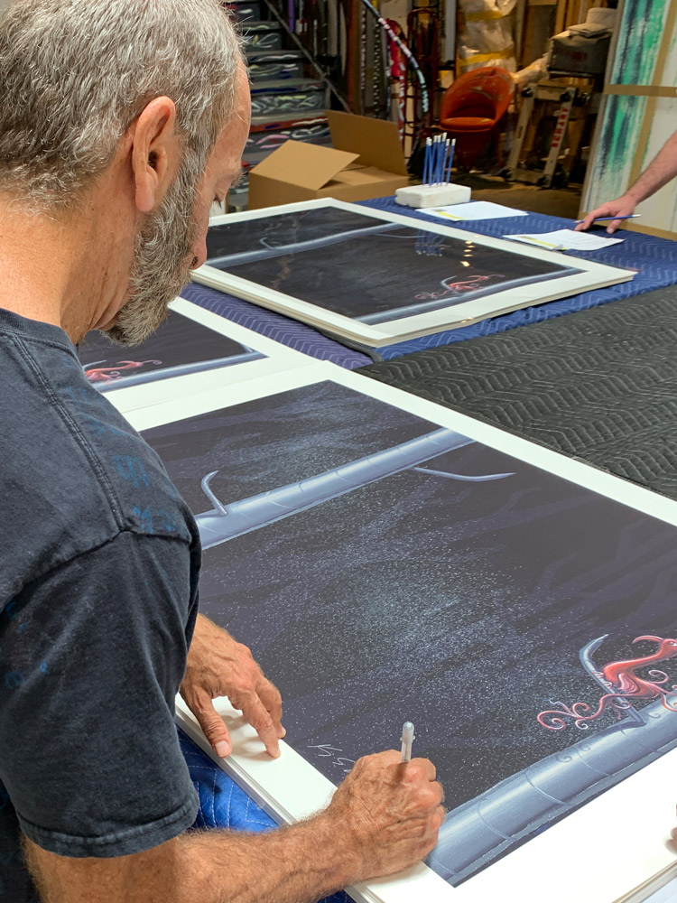 Kenny Scharf signing Zolitaire print