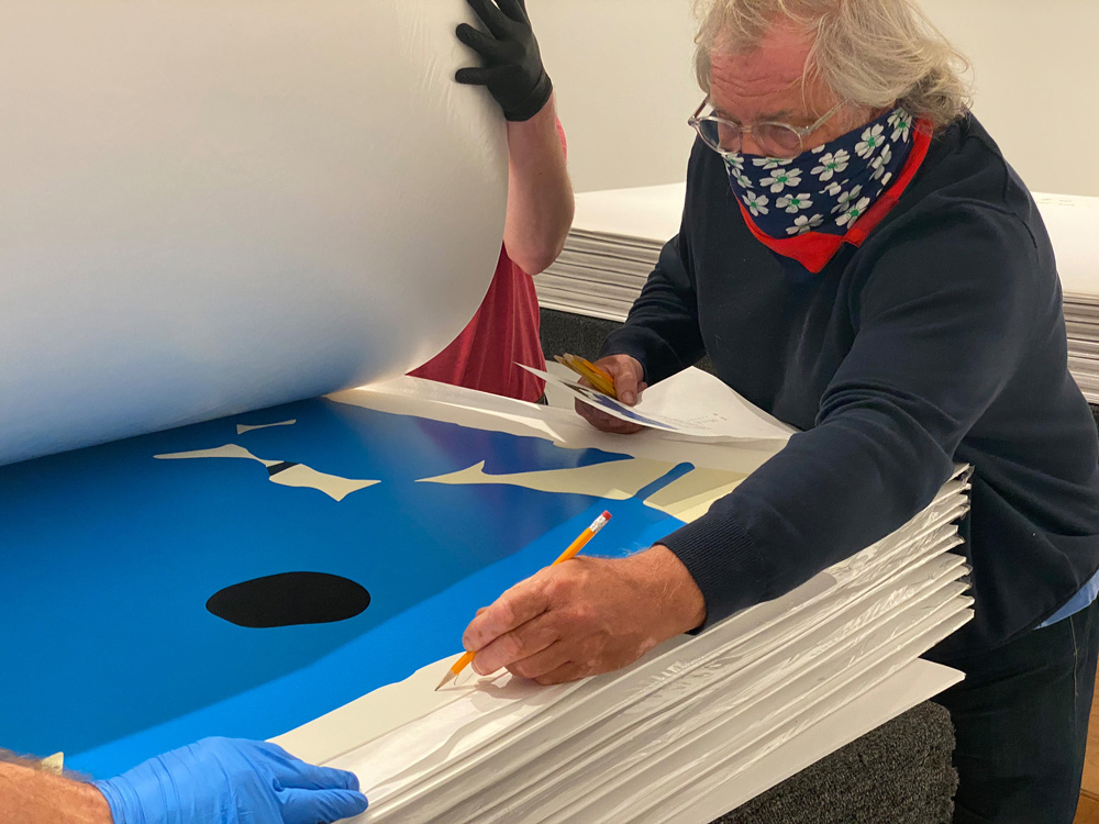 BLUES and BLACKS AUG 20 2020 being signed by Donald Sultan